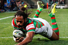 Lote Tuqiri of the Rabbitohs dives over the line to score a try during the NRL match between the Parramatta Eels and the South Sydney Rabbitohs in Sydney. Photo / Getty Images