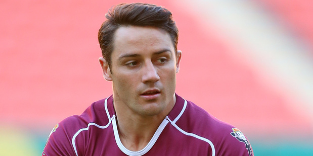Cooper Cronk during the Queensland Maroons State of Origin Captain's Run. Photo / Getty Images