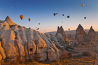 Marvel at Cappadocia's lunar-like landscape from above in a hot air balloon and visit its ancient underground cities. Photo / Thinkstock