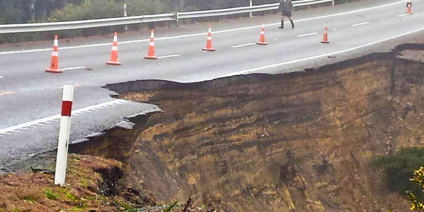 State Highway 1 near Maromaku Rd suffered a huge slip, closing the road. Photo / Facebook/NorthlandWeather