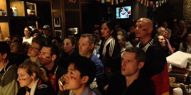Football fans watching the football World Cup final at The Fox in Auckland. Photo / Sarah Ivey