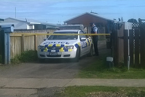 The scene of the homicide investigation in Opotiki. Photo / Katee Shanks