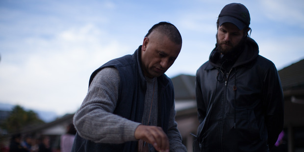 Actor Cliff Curtis (left) and director James Napier Robertson on the set of  The Dark Horse .