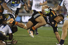 Tim Nanai-Williams of the Chiefs is tackled during the round 11 Super Rugby match between the Brumbies and the Chiefs at Canberra Stadium. Photo / Getty Images