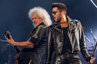 Brian May and Adam Lambert on stage in Chicago last month. (Photo by Barry Brecheisen/Invision/AP)