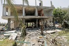 The Mobarat Felestin centre for the disabled was reduced to rubble by an Israeli missile strike. Photo / AP
