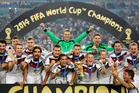 German players celebrate with the trophy after the World Cup final soccer match between Germany and Argentina. Photo / AP