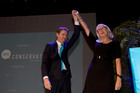 The Conservative Party leader Colin Craig with CEO Christine Rankin. Photo / New Zealand Herald Photograph / Brett Phibbs