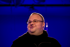 Kim Dotcom, during the official announcement of Laila Harre's leadership of the fledgling Internet Party. Photo / Brett Phibbs
