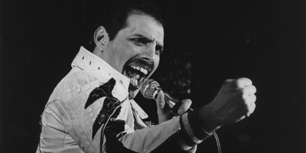 Freddie Mercury, performing with Queen at Mount Smart Stadium, Auckland in 1985. Photo / NZH