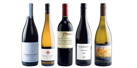 Cambridge Road Martinborough Pinot Noir; Prophet's Rock Central Otago Dry Riesling; Gillman Matakana; Ash Ridge Hawke's Bay Syrah; Collaboration Wines Aurulent Chardonnay.