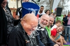 Flaxmere councillor Henare O'Keefe receives an icy dunking in the Hastings CBD while Hawke's Bay regional councillor Rex Graham, Hastings Mayor Lawrence Yule and Tukituki Labour candidate Anna Lorck look on. Photo/Warren Buckland