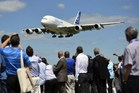 An Airbus A380-800 prepares to land during a flight demonstration at the Farnborough Airshow. Photo / AFP