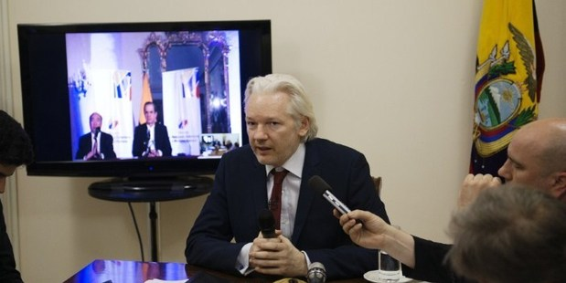 WikiLeaks founder Julian Assange speaks to members of the media during a press conference inside the Ecuadorian Embassy. Photo / Sunshine Press Productions