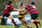 The grand final of the Bay of Plenty women's rugby competition is this Sunday. Pictured is Waikite player Polly Playle (with ball) last weekend. Photo/Stephen Parker