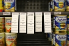 Danone's Nutricia subsidiary recalled 67,000 cans of its Karicare baby formula, leaving empty spaces on supermarket shelves. Photo / APN