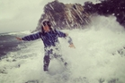 Brando Yelavich deals with the surf on the Tawharanui Peninsula during last weekend's bad weather.