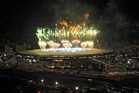 A fireworks display is seen over the Maracana stadium after the World Cup final. Photo / AP
