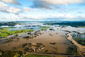 Large parts of Northland's farmland was left underwater due to the storm. Photo / Chris Opperman