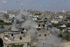 An Israeli missile hits a refugee camp in the northern Gaza Strip. Photo / AP