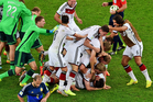 German players celebrate after winning the World Cup final. Photo / AP