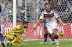 Germany's Mario Goetze celebrates after scoring the winning goal during the World Cup final soccer match between Germany and Argentina in Rio de Janeiro. Photo / AP