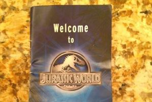 Leaked images from brochures used on set of upcoming film Jurassic Park World. Photo / jurassicp2k15 Twitter