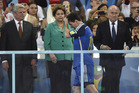 Lionel Messi and Brazilian President Dilma Rousseff, in green, didn't have the best World Cup finals. Photo / AP