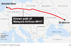 The flightpath of Malaysia Airlines MH17. Photo / Source FlightAware - AP