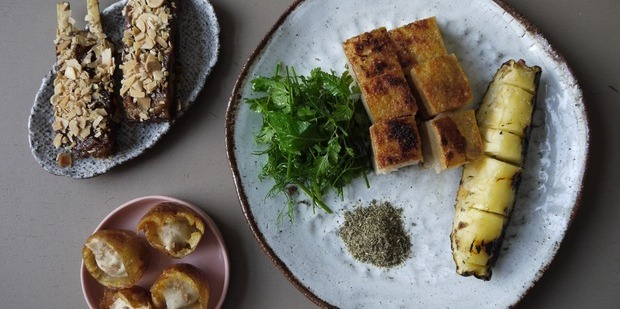 "Popular dishes from Pinbone include the ""cheesy, smoky, potato thing"", lamb ribs with 5-spice & almond, and Pork Belly & grilled pineapple with liquorice root & kombu dipping salt. Picture / Supplied"
