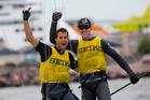 Peter Burling and Blair Tuke celebrate their world title. Photo/ Mick Anderson, www.sailingpix.dk