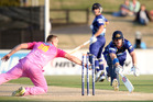 Hamish Rutherford of Otago is run out by Scott Styris of Northern Districts. Photo / Getty Images