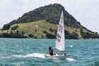 Kate Stewart won the Tauranga Cup in a thrilling finish on Tauranga Harbour on Saturday. Photo/Joanna Maidment