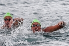 Kane Radford (right) and Japan's Yasunari Hirai in action in yesterday's 5km open water race in Taupo. Photo/BW Photography