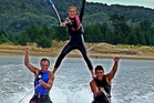 Cody Rouse (left), of Whangarei, Callam Taka (Auckland) and exchange student Ingebjorg Midtaune from Norway perform a water ski pyramid on January 3. Photo/Leanne Rouse