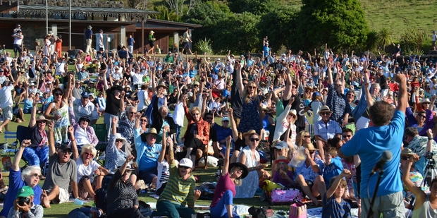 The concert at Pie Melon Bay farm on Waiheke was organised by opponents to a new marina, but even supporters had a good time.