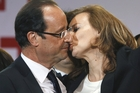 French President Francois Hollande with his live-in companion Valerie Trierweiler. Photo / AP