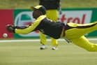 Davis Arinaitwe Karashani drops a catch during Uganda's seven-wicket loss to the Netherlands in Mt Maunganui. Photo / Alan Gibson