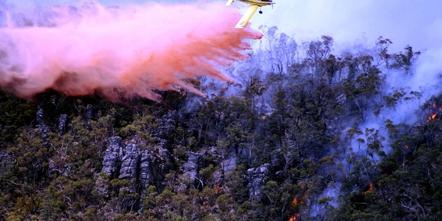 Planes are being used to help fight the fires in Victoria's Grampians region. Photo / AP
