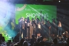 Cast and crew of <i>Shopping</i> on stage at the Rialto Channel New Zealand Film Awards. Photo / Max Mamaev