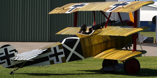 This Fokker Dreidecker triplane was one of two World War I era aeroplanes to  touch down in Tauranga on Saturday ahead of the Classics of the Sky Airshow. Photo/Richard Moore