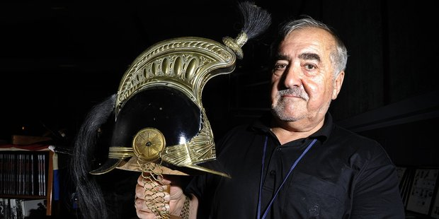 Collector Peter Zervos had his 140-year-old Paris Mounted Police helmet on display at the Mount Maunganui Antique and Collectibles Fair. Photo/George Novak