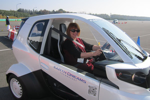Liz Dobson gets ready to test the mirco EV, MC-B, at Honda's R&D centre in Japan.