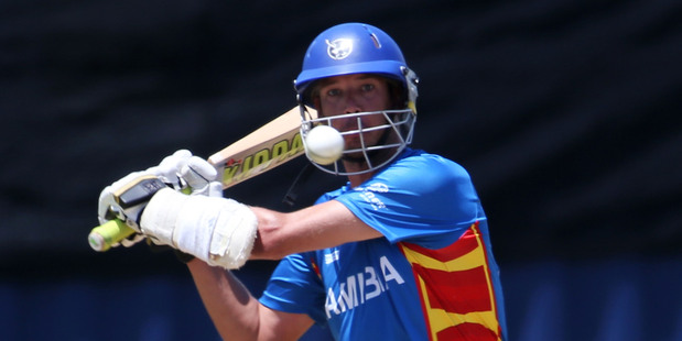 Man of the match Gerry Snyman plays a shot during an ICC World Cup qualifying match between Namibia and The Netherlands at Bay Oval. Photo / Getty Images