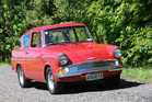 Justin Marsh says he gets plenty of smiles, toots and stories when driving his Ford Anglia 105E. Photos / Jacqui Madelin