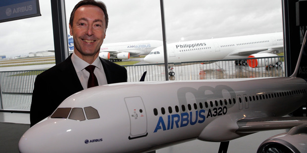 Airbus CEO Fabrice Bregier. The European aerospace conglomerate said it delivered 626 planes last year, a company record but still 22 fewer than U.S. rival Boeing. Photo / AP