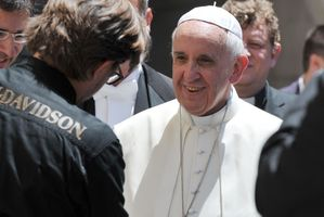 Harley riders had an audience with Pope Francis. Picture / AP