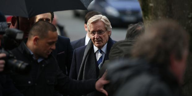 Actor William Roache, center, arrives at Preston Crown Court, England. Photo / AP