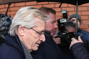 Actor William Roache arrives at Preston Crown Court, England at the start of his trial on charges of committing historic sexual offences against five girls. Photo / AP