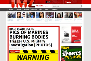 A screenshot of the TMZ website with their story about US military members burning bodies. Photo / AP